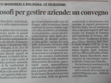 Articolo Gazzetta di Modena
